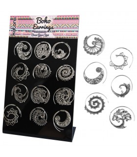 Boho silver spiral earrings display - BESS