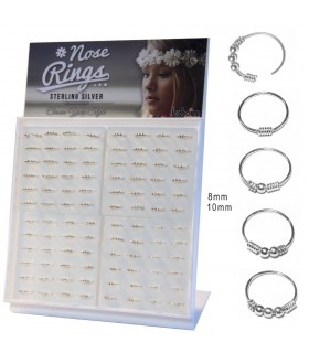 Silver nose ring display - ARN115