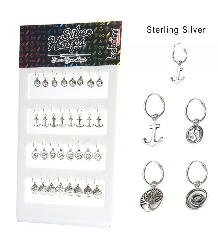 Silver hoops with pendant display - ARO21