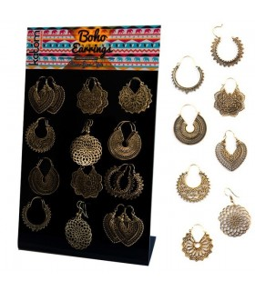 Golden ethnic earrings display - BEG