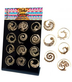 Présentoir de boucles d'oreille dorées spirale boho - BESG