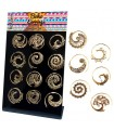 Spiral boho golden earrings display - BESG
