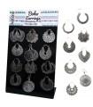 Silver ethnic earrings display - BES