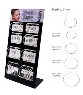 Big Silver Hoops Display - ARO1220
