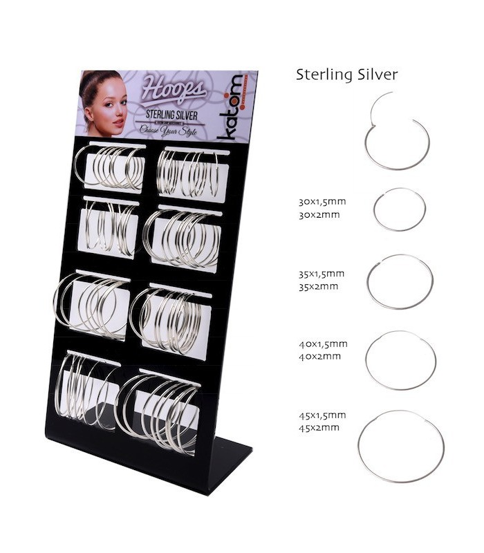 Big Silver Hoops Display - ARO1220