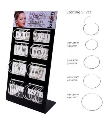 Expositor de aros lisos de plata grandes - ARO1220