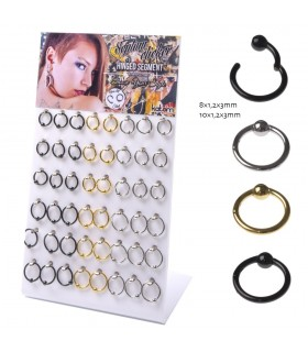 Hinged Segment  Nose Ring with Ball - SEP203BALL