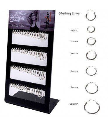 Silver Hoops Display - ARO45MIX2