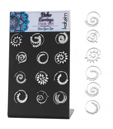 Boho silver spiral earrings display - BOHOSILSP