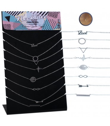 Steel necklace with ornament display - NECST
