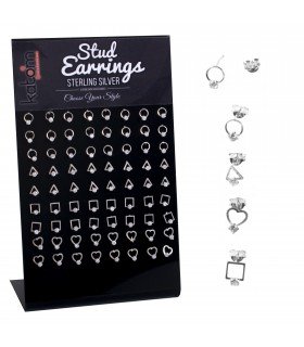 Silver earrings with zirconite display - PEN688