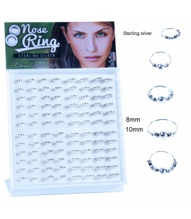 Silver hoops for nose display - ARN119