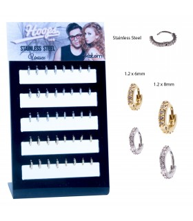Steel hoops with stones display - ARO62