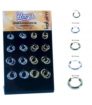 Wide silver and gold plated hoops - ARO42MIX