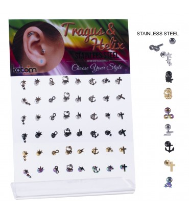 Helix/Tragus piercing - HEL-CAR7COLOR