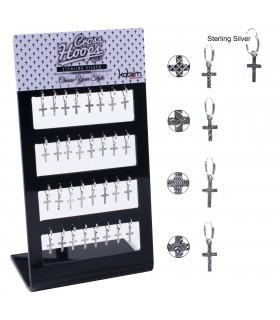 Aros de plata cruz con diseños - HSCRD