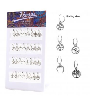 Silver hoops with ethnic circular pendants - ARO19