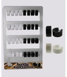 Expositor aros acrilico blanco y negro - HAGS5013