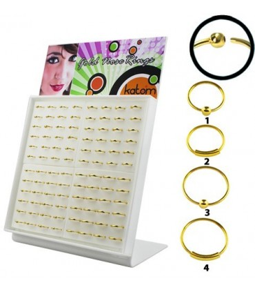 Gold plated silver nose hoops - ARNG
