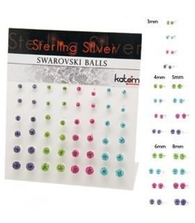 Pendientes plata bolas 4 colores - PEN183