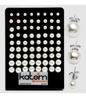 Expositor pendientes plata perlas blancas - PEN256