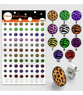 Exhibitor earrings Leopard and Zebra steel - PEN80