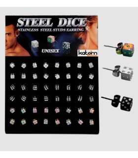 Earrings dice - Steel - PEN1150