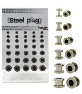 Display of steel plug with black point -EP2057