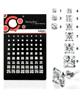 CZ square and round stud earrings display - PEN150