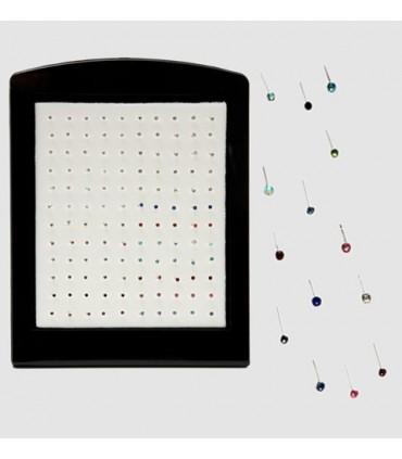 Piercing Nariz plata redondo de colores-NS101