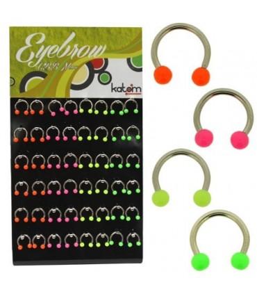Expositor Piercing CBB Ceja, Tragus, Cartílago en colores fluor - BEL089