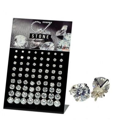 Cz round display sterlins silver-PEN656