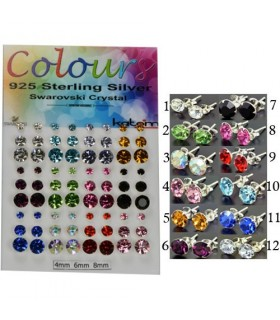 Expositor pendientes cristal swarovski de colores - PEN287