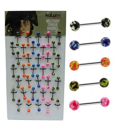 Exhibitor tongue piercing with military design. - BEL096