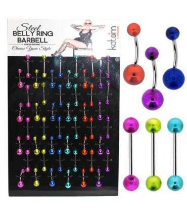 Expositor piercings de ombligo y lengua de colores - BEL102