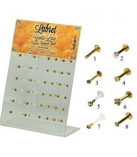 Expositor piercing de labio en acero dorado -MDN7022