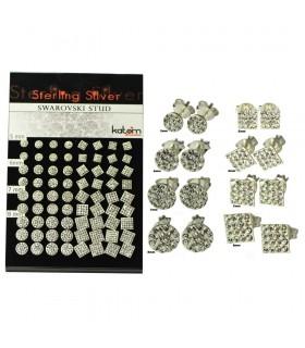 Expositor Pendientes de plata circulos y cuadrados - PEN200MIX