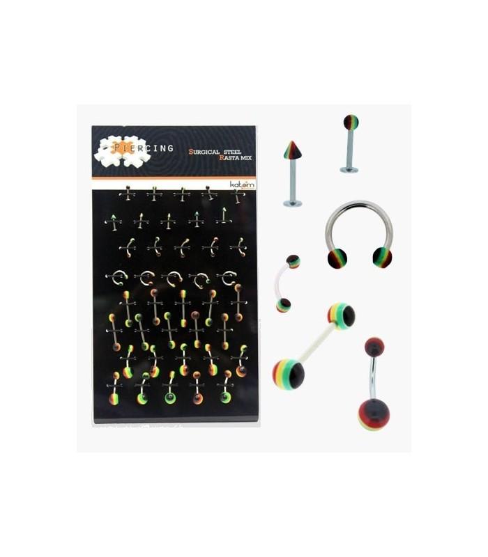 Expositor piercings labio, ceja, lengua, ombligo - BEL054