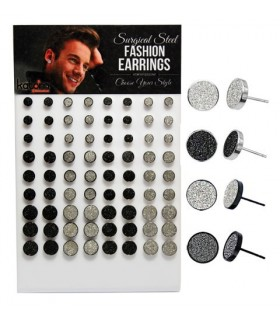 Exhibitor earrings steel and glitter -STD4533