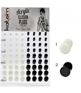 Exhibitor fake plugs white or black acrylic - IP1586-72