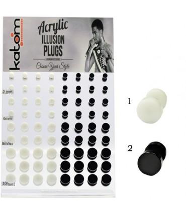Exhibitor fake plugs white or black acrylic - IP1586-72