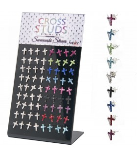 Exhibitor earring colored cross with swarovskis - PEN721