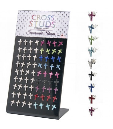 Expositor pendientes cruz color swarovski - PEN721