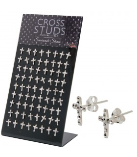 Exhibitor earring cross with swarovskis - PEN720