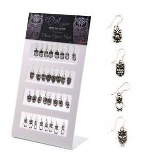 Exhibitor earring with owls design - OCH