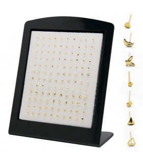 Expositor pendiente nariz con simbolos dorado - NS108