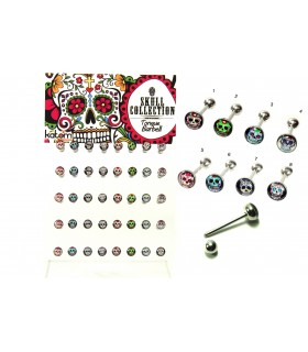 Exhibitor tongue piercing mexican skull - BRB6006