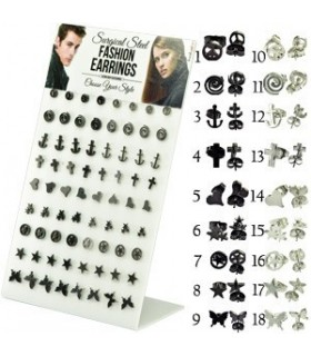 Display steel earrings with symbols - STD4581