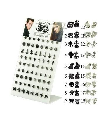 Display steel earrings with symbols - STD4581