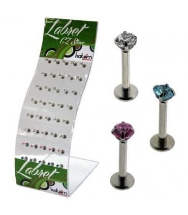 Expositor pierciing de labio en acero - MDN7014
